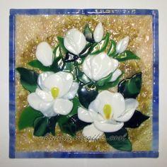 White magnolia fused glass picture