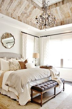 Classic bedroom design with a twist in a form of pallet ceiling