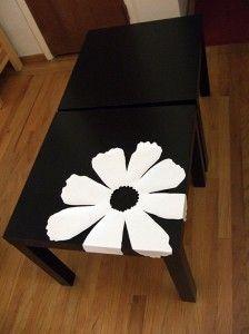 Bamboo veneer flowers + Ikea Lack tables - Crafty Nest