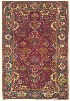 AN ISPHAHAN RUG, CENTRAL PERSIA EMBARGO ON IMPORTATION OF PERSIAN/IRANIAN WORKS OF ART TO THE USA. Due to recent changes in the U.S. law, carpets and rugs of Iranian/Persian origin can no longer be imported into the U.S.approximately 222 by 146cm; 7ft. 3in., 4ft. 9in.17th century