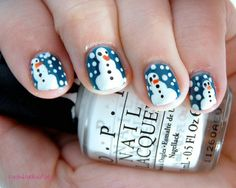 Easy Nail Designs for Short Nails | Glam Bistro SNOWMEN!!! #Christmas
