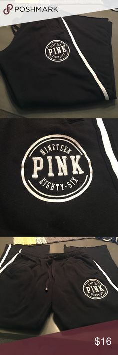 Black pink brand boyfriend sweats six xs. Black pink brand boyfriend sweats size xs with white stripes down sides. In great shape. No holes rips or stains. Smoke free home. PINK Victoria's Secret Pants Track Pants & Joggers