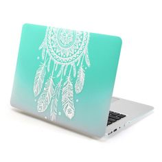 MacBook Air 13 Case, GMYLE Hard Case Print Frosted for MacBook Air 13 - Gradient Turquoise Dream Catcher Pattern Rubber Coated Hard Shell Case Cover