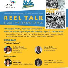 """Screening of """"Olympic Pride American Prejudice Tuesday April 17 Royce Hall UCLA 10am and 7pm. Screening and panels exploring athletes and activism with a particular focus on the role of athletes UCLA/LA/California as  James LaValle (UCLA) Archie Williams (Cal) Cornelius Johnson (Compton College) and Mack Robinson (Pasadena City College) competed at the 36 games and thus subjects of the film. @la84foundation  #Athletes4Impact"""