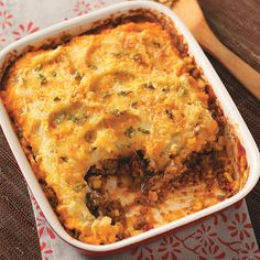 Southwestern Shepherd's Pie Recipe -This easy meal is hearty and colorful, with a great blend of Southwest flavors and heat! —Suzette Jury, Keene, California Meat Recipes, Mexican Food Recipes, Casserole Recipes, Ethnic Recipes, Supper Recipes, Cooking Recipes, Beef Dishes, Turkey Dishes, Food Dishes