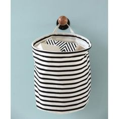 House Doctor Striped Storage: Monochrome Striped Storage Basket from House Doctor with a handle for wall hanging. Attractive, super practical storage solutions for any room. Product is PE coated on the inside so it can be wiped clean. House Doctor, Laundry Storage, Toy Storage, Storage Baskets, Laundry Bags, Hanging Storage, Small Storage, Basket Bag, Vintage Furniture
