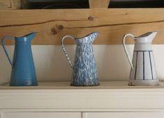 French vintage enamel pitchers