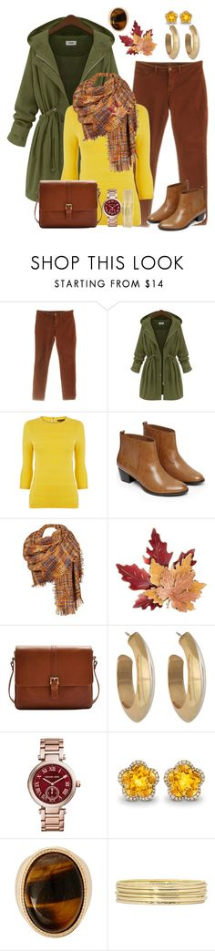 """Color Challenge Series #8: Brown, Mustard & Green"" by the-empress-of-the-south ❤ liked on Polyvore featuring J Brand, Warehouse, Black Rivet, Croft & Barrow, Joules, House of Harlow 1960, Michael Kors, Kiki mcdonough, Liz Claiborne and women's clothing"