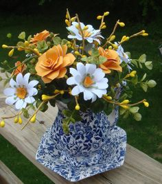 Blue and Yellow Paper Flower Arrangement by SweetPeaPaperFlowers, $25.00