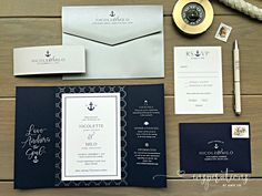 Custom nautical-themed invitation set created by Inspirations by Amie Lee Nautical Wedding Invitations, Custom Invitations, Nautical Design, Nautical Theme, Invitation Set, Ink Color, All Design, Thank You Cards, Rsvp