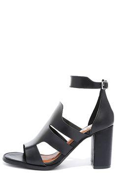 d25e9dbe8b0 Cute Black Heels - Heeled Sandals - Block Heels -  34.00 T Strap