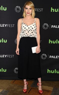 Emma Roberts in black-and-white Thakoon crop top and black Atea Oceanie culottes with Charlotte Olympia sandals