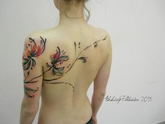 Water color tattoo. Love the lines and how they travel