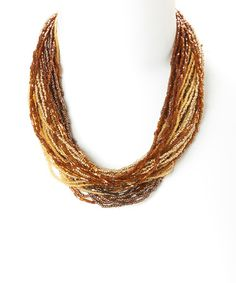 $9.99 Loving this Brown & Goldtone Multi-Strand Twist Necklace on #zulily! #zulilyfinds