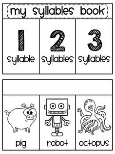 Syllables books for kids to make where they sort picture words as being 1 syllable, 2 syllables, or 3 syllables.. so cute!