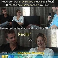 Theo James and Shailene Woodley. Four/Tobias and Tris in Divergent. Divergent Memes, Divergent Hunger Games, Divergent Fandom, Divergent Trilogy, Divergent Insurgent Allegiant, Tfios, Insurgent Quotes, Tris And Four, Shailene Woodley