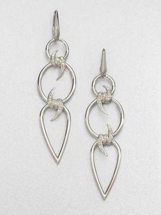 Stephen Webster Diamond Sterling Silver Barb Triple Drop Earrings