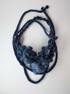 Textile Jewellery - navy blue rope necklace // fiber jewelry; contemporary…