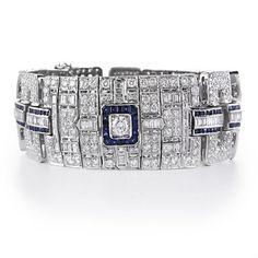 Diamond and Blue Sapphire 18k White Gold Antique Style Bracelet Firenze Jewels http://www.amazon.com/dp/B002C3V8RM/ref=cm_sw_r_pi_dp_mAaStb0DRJXNQW9F