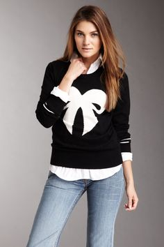 Black & White Bow Sweater I would not wear this with light denim