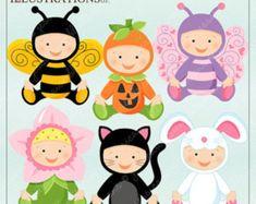 Baby In Costume - Dark Skin - Cute Digital Clipart for Card Design, Scrapbooking, and Web Design Cute Costumes, Baby Halloween Costumes, Baby Costumes, Baby Bee Costume, Bunny Costume, Flower Costume, Butterfly Costume, Pumpkin Costume, Dark Skin