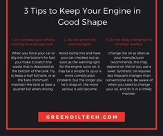 3 Tips to Keep Your Engine in Good Shape - Tips from greenoiltech - http://greenoiltech.com