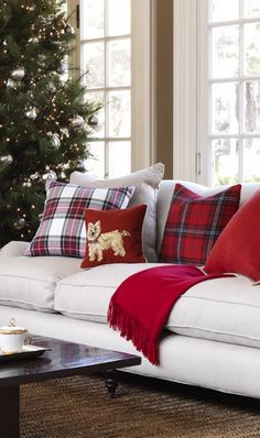 tartan sofa would be good - Williams and Sonoma tartan throw pillows. Love the tartan! Tartan Christmas, Christmas Love, Country Christmas, Winter Christmas, All Things Christmas, Victorian Christmas, Christmas Morning, Vintage Christmas, Christmas Pillow