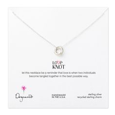 love knot necklace, sterling silver. Fun and sweet message