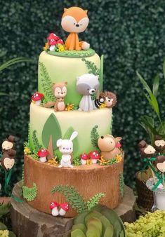 Dog Cakes, Cupcake Cakes, 1st Year Cake, Farm Animal Cakes, Happy Cook, Fox Party, Woodland Cake, Fake Cake, Specialty Cakes