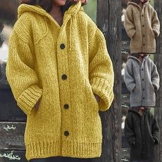 2019 New Winter Fashion Women Coat Knit Hooded Sweater Mid-length Button Up Knitted Cardigan Jacket Chunky Cardigan, Hooded Cardigan, Loose Sweater, Sweater Coats, Sweater Hoodie, Long Sleeve Sweater, Sweater Cardigan, Hooded Coats, Men Sweater