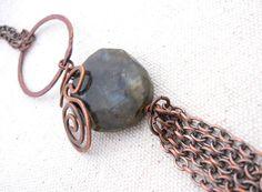Long Copper & Labradorite Necklace. $28.00, via Etsy.