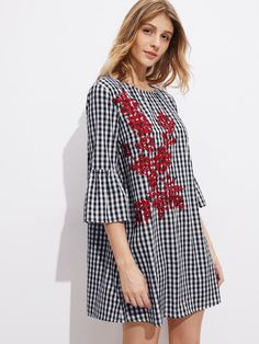 #AdoreWe MakeMeChic Womens - MAKEMECHIC - Fluted Sleeve Vine Embroidered  Gingham Dress - AdoreWe.