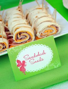 """Sandwich Snails**Flour Tortillas, Cheese,Ham or Turkey lunch meat, Chive Cream Cheese,small stick pretzels* Spread cream cheese on tortilla. Add 1 layer of cheese & meat on top of cream cheese. Roll up tortilla,cut into 1 1/2"""" thick pieces.Stick pretzels at one end for snail antennae*"""