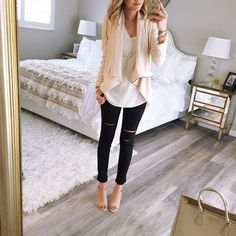 """""""Back home and wearing my favorite neutrals today! I wear this sweater so much. It comes in a bunch of colors and this drape front jacket is the  I am…"""""""
