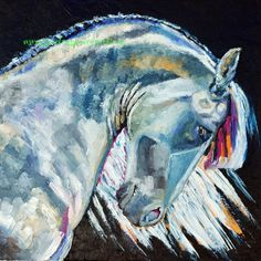 Giclee PRINT White Grey Percheron Horse Painting Art Day Off Archival Lipizzaner