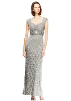 SUE WONG Beaded Open Back Gown with Cap Sleeves