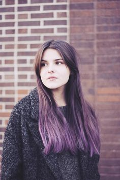 brown and purple hair - soft shades work well together
