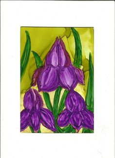 ACEO Fall Frenzy Painting Purple Iris Flowers with Frame Card by Leslie Walker Art #Abstract