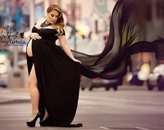 Miriam Gown  Long Sleeve Maternity Gown  Off the Shoulder