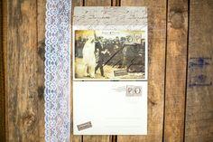 Vintage postcard wedding invitations by Atelier Invitations
