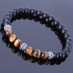 Mens Women Matte Black Onyx Tiger Eye Sterling Silver Bracelet 925 DIY-KAREN 371 #Handmade #Beaded