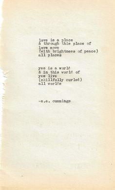 love is a place - e.e. cummings