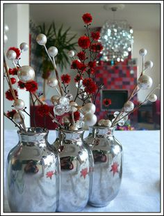 Christmas 2011 - Red and Silver Table Decoration by Mo Westein 1, via Flickr