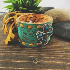 This Pin was discovered by Shannon Snow-It Must Be a Sign. Discover (and save!) your own Pins on Pinterest. Country Jewelry, Western Jewelry, Leather Cuffs, Leather Earrings, Aqua Blue, Cuff Bracelets, Belt, Sign, Stitch