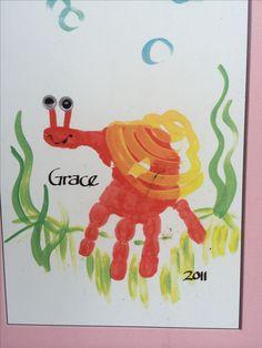kids handprint idea: Handprint snail craft for kids #preschool #kidscraft #snail More