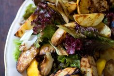 Grilled Potato Salad try with the portobello/peach burger. Use sweet potatoes. Again from Melina's pin.