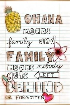 """""""Ohana means family and family means nobody gets left behind or forgotten"""""""