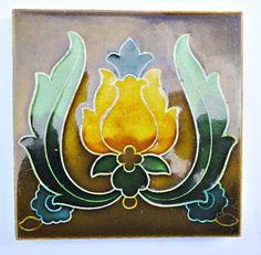 Art Nouveau tile. Stunning  wall tile. English home decor. Collectible