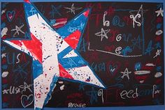 """Eric Carle """"Draw me a star"""" star idea - painted paper - oil pastels on black"""