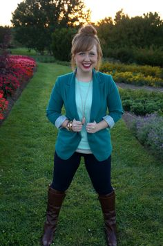 #fall #fashion #blazer #topknot #frye #boots opal-and-violet.blogspot.com